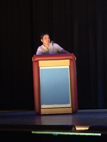 Sophomore Tyler Koch during his Jeopardy act
