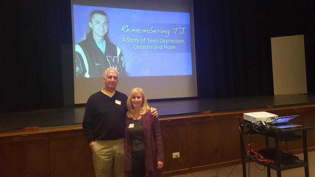 Steve and Wendy Sefcik speak to the student body regarding suicide awareness.