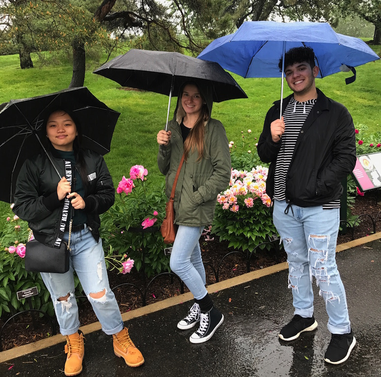 Juniors Shaina Anuncio, Lauren Kazka and Luke Maffia enjoyed walking the grounds at the Botanical Gardens.
