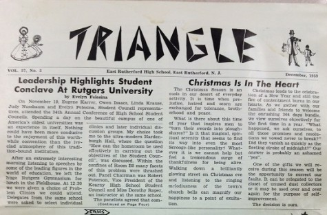 The answer to the name of the East Rutherford High School newspaper is 'Triangle'