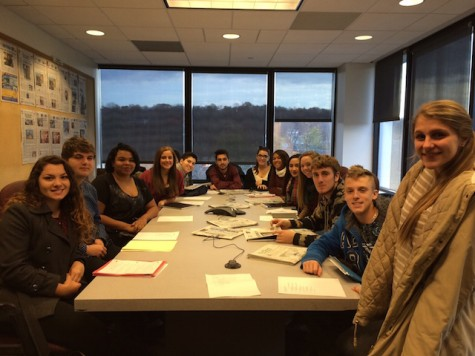 Journalism class visits The Record; sits in on news meeting with Editor Martin Gottlieb