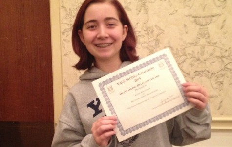 Freshman Katie Kretzmer is so excited to win a certificate at her first Model Congress.