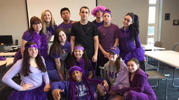 The senior class shows solidarity while dressed in purple.