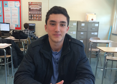 The January Student of the Month, Giuseppe Penna, is enrolled in a study hall to help him complete his school work.