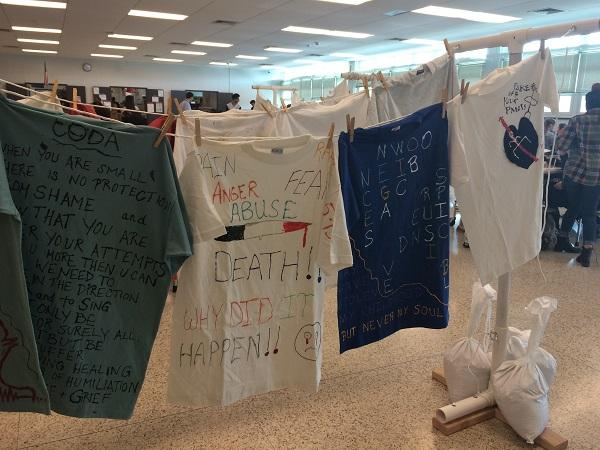 Becton cafeteria displays The Clothesline Project