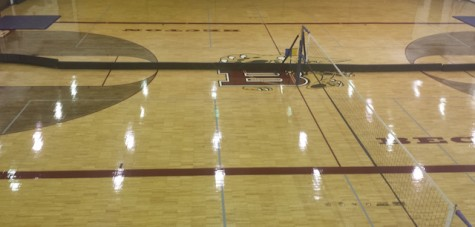 The new gymnasium floor mimics that of a college campus.