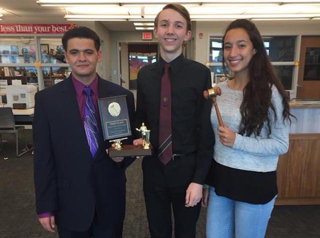 The debate award winners are Zak Kandiel, Ryan Strauss and Ayah Suleiman.