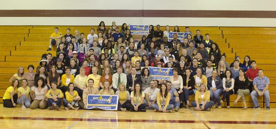 The participants of the Sept. 30 Childhood Cancer Awareness Day at Becton gather together to show their support for the cause.
