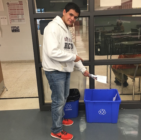 Junior Zak Kandiel makes sure to recycle all paper at Becton.