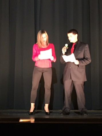 Co-hosts Ms. O'Driscoll and Junior Zak Kandiel