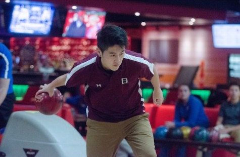 Junior Andrew Park focuses for the strike.