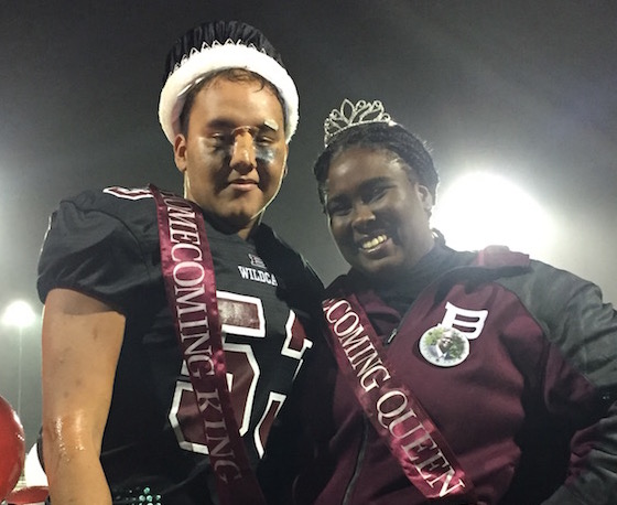 Luis Pontier and Tamia Anderson are honored to be voted Homecoming King and Queen by the junior and senior classes.