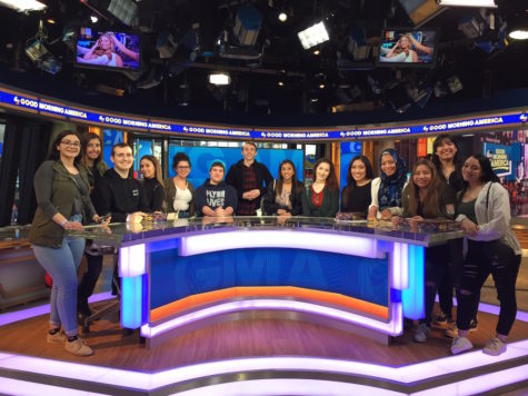 The Journalism I and II classes sit on the set of Good Morning America.