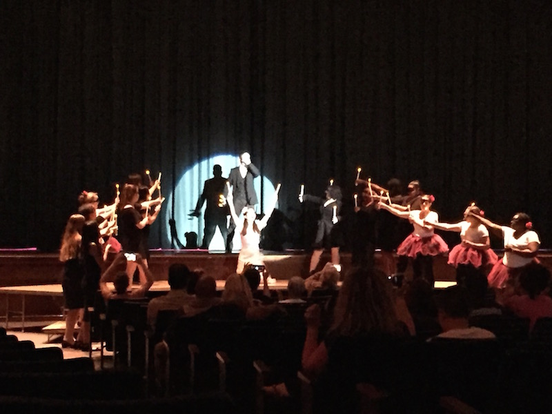 Junior Tyler Koch and Senior Eunice Wang perform a song from The Phantom of the Opera.