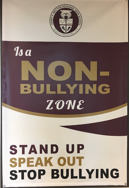 Anti-bullying signs can be found throughout the Becton hallways.