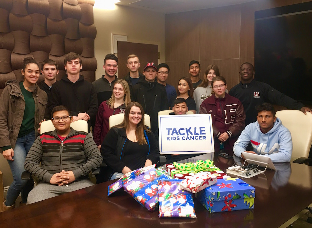 The Chick-fil-A leadership group filled and wrapped 45 shoeboxes full of toys.