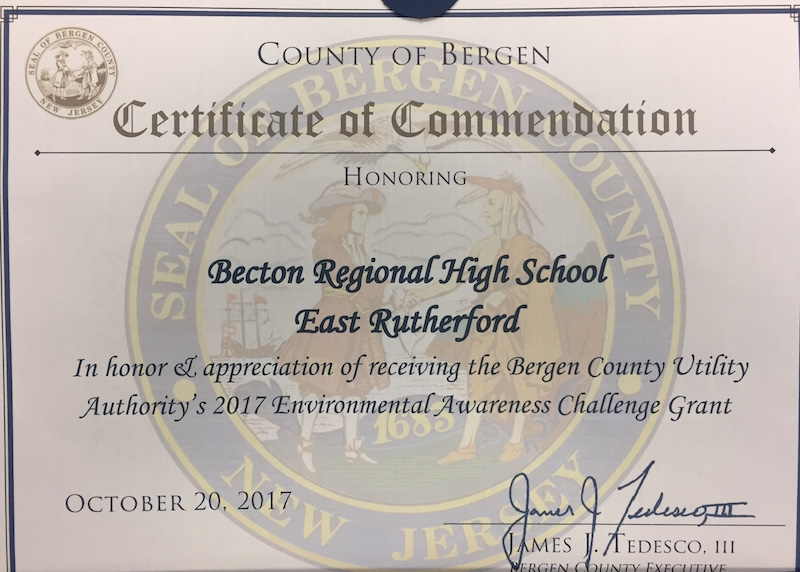 Due to the efforts of Ms. Annitti, Becton has received an environmental awareness grant.