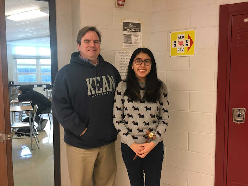 Senior Natalie Paredes credits Mr. Carr's guidance for her success in debate.