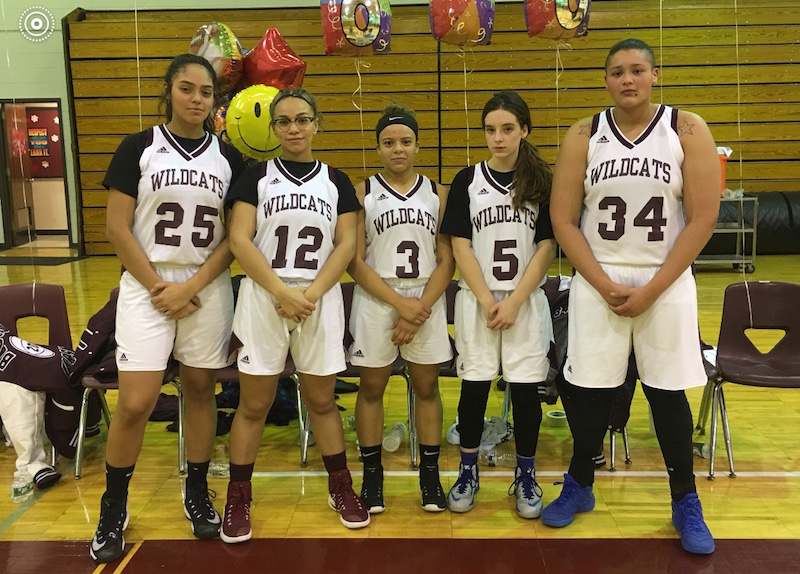 Pictured above are the five starting players of the Becton Girls Basketball Team: (left to right) Jaylen Nuila, Aliyah Dearmas, Chloe Jaime, Felicia Carty and Justina Cabezas.