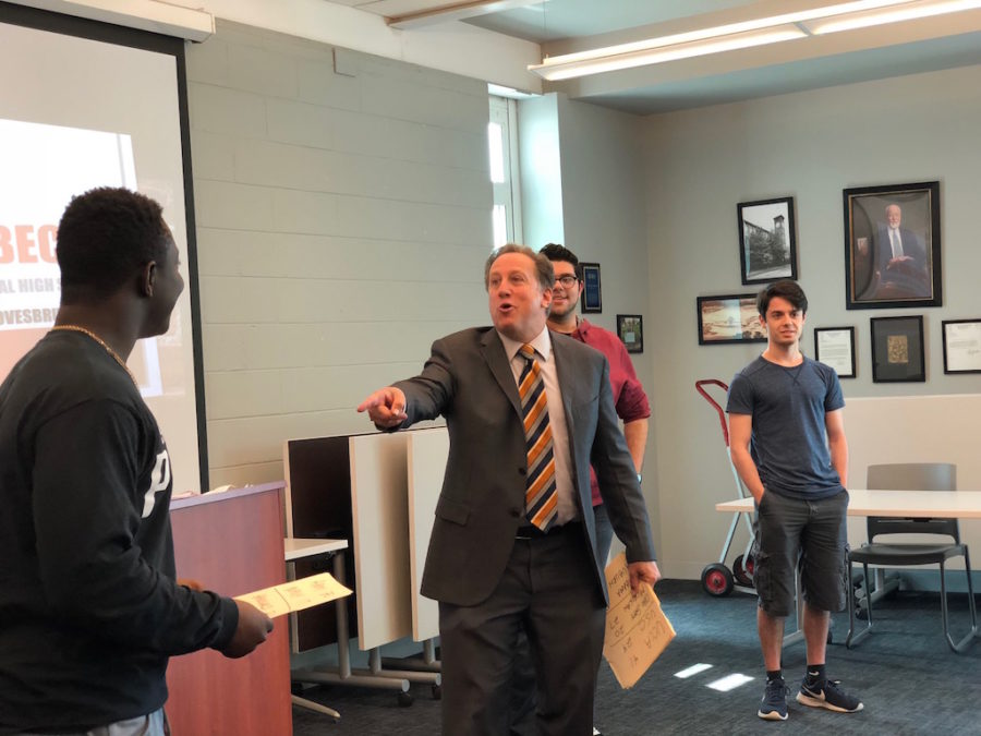 Sports Anchor Bruce Beck educates Becton students on broadcast journalism