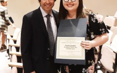 Becton Regional High School's Victoria Gramlich receives a scholarship award from Stephen G. Pereira, M.D.