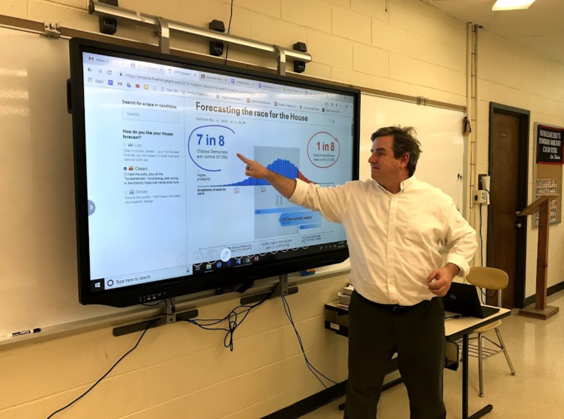 Mr. Carr demonstrates the predicted outcome of the Nov. 2018 election to his US History I students.