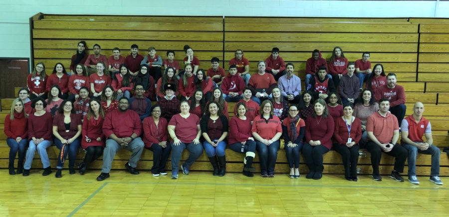 Becton Regional High School's staff and students show their support for heart disease awareness on National Wear Red Day.