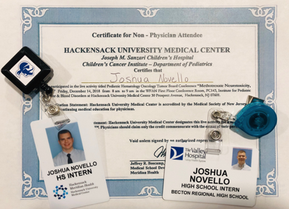 Joshua currently holds internships at Hackensack Hospital and The Valley Hospital located in Ridgewood.