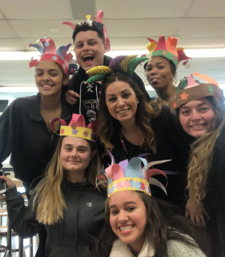 Italian Teacher Mrs. Bonanno celebrates Carnevale with her Italian 4 students.