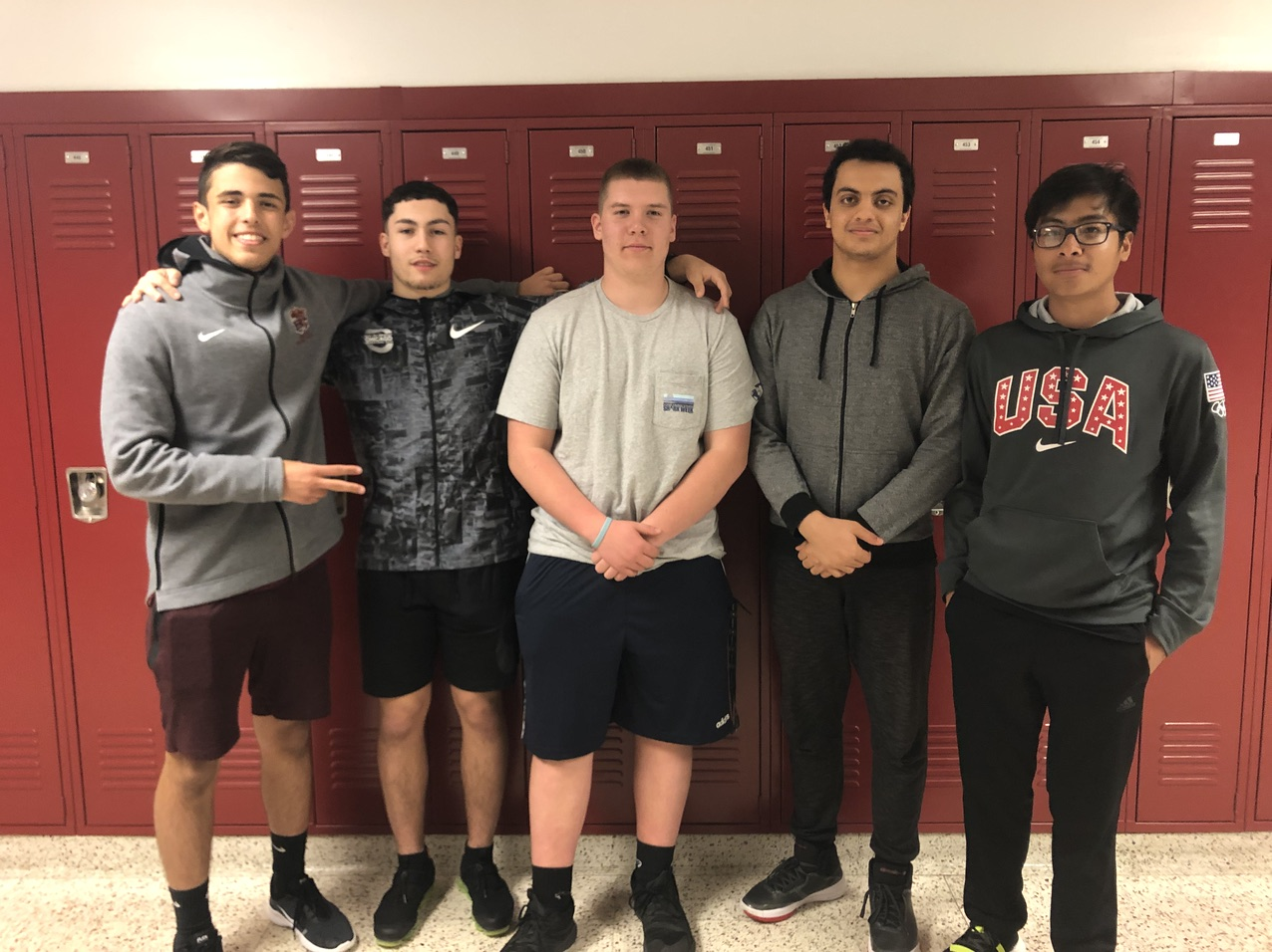 Carlstadt delegates include (from left to right) Anthony Lenoy, Alessandro Buffalino-Benameur & Dylan Caughey. East Rutherford delegates (from left to right) include Mario Barsoum and Dylan Valenzuela.