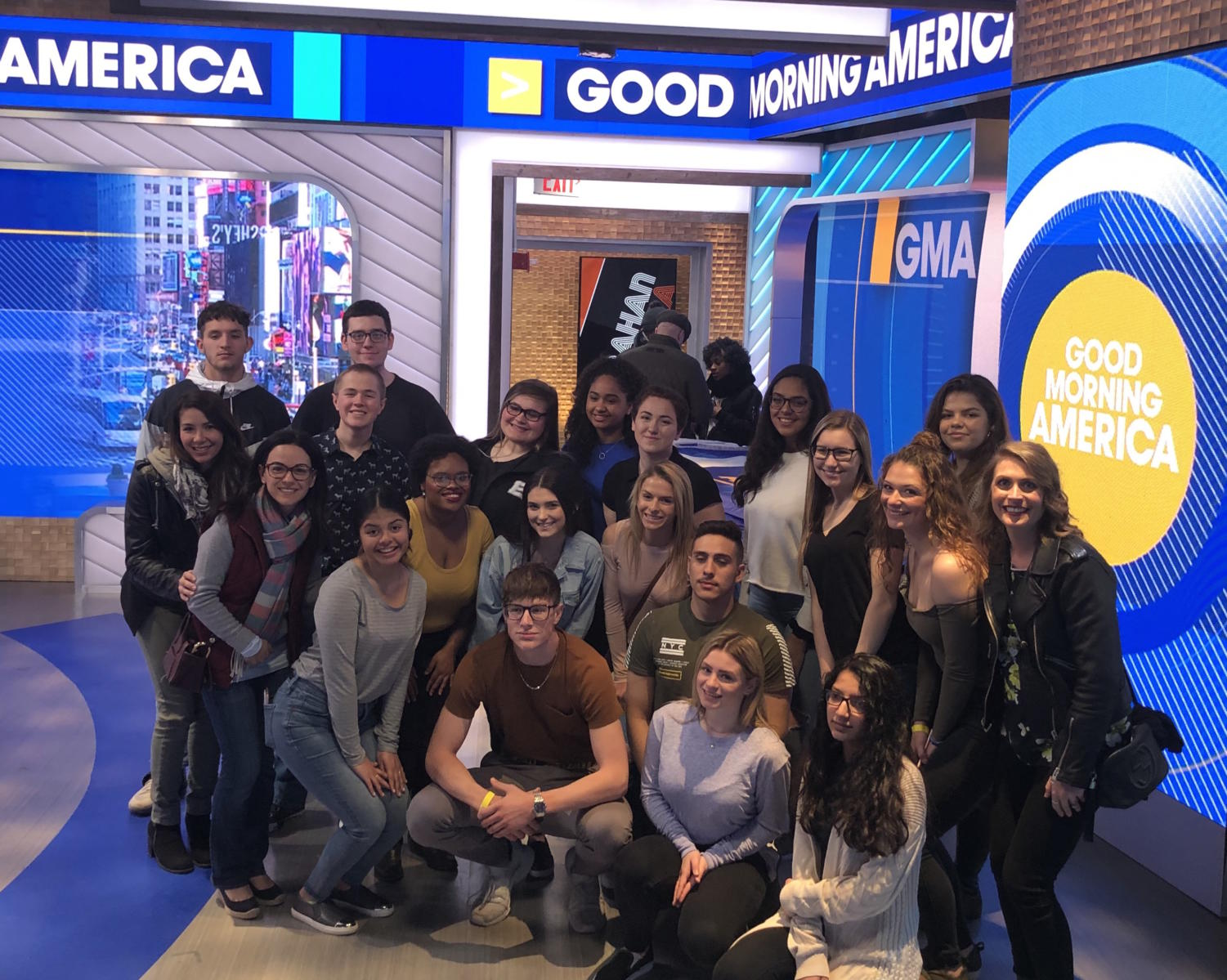 Students enrolled in Becton's communications electives were selected to attend a live taping of GMA on April 5.