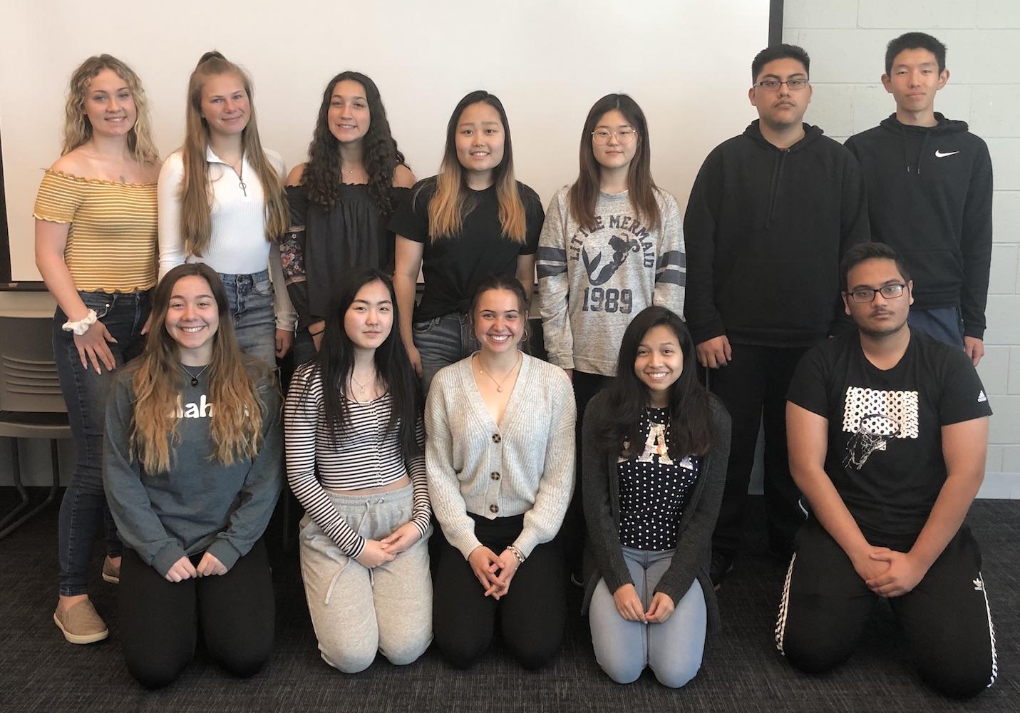 Pictured left to right: Carlie Koziol, Alyssa Nozka, Gianna Penna, Cecilia Kang, Martha Kato, Pablo Bravo, Joseph Chang, Salome Siradze, Catherine Kim, JulieAnne Fossett, Emily Rivera, Krish Patel