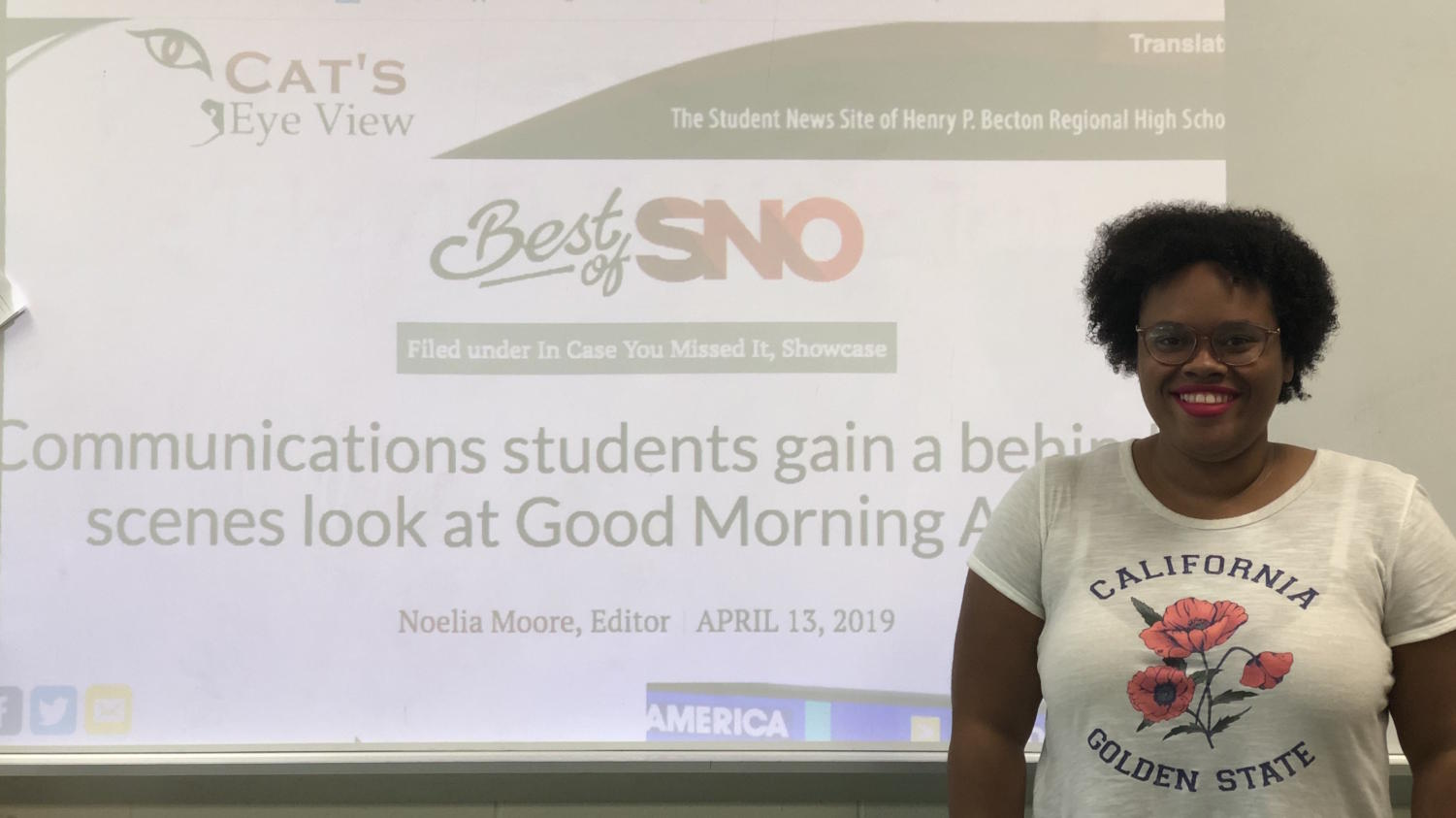 Junior Noelia Moore's story was recognized as