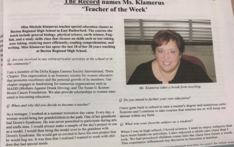 'The Record' Names Ms. Klamerus Teacher of the Week