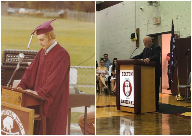 Mr. Dennis Monks at Becton Regional High School's 1979 graduation ceremony and at the 2019 graduation ceremony.