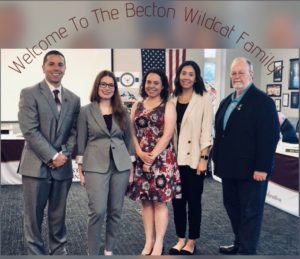 Dr. Sforza and Board Vice President Mr. Bruce Young welcome new staff members to the 'Becton Wildcat Family'. Photo courtesy of @Dr_DSforza.