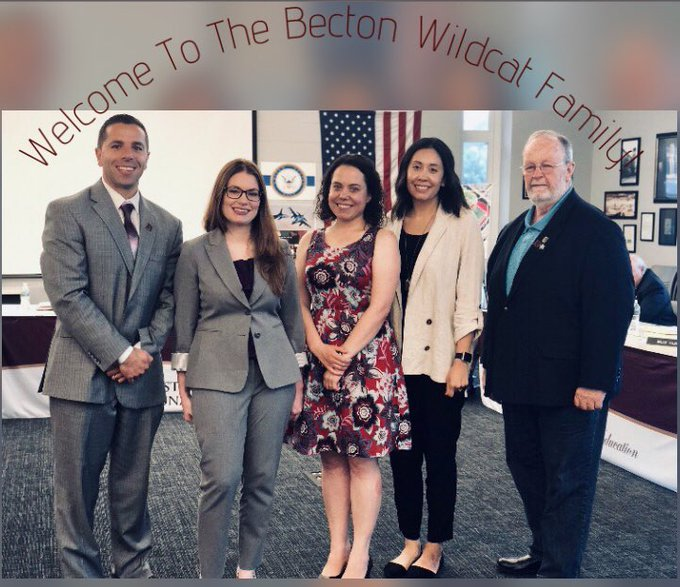 Dr.+Sforza+and+Board+Vice+President+Mr.+Bruce+Young+welcome+new+staff+members+to+the+%27Becton+Wildcat+Family%27.+Photo+courtesy+of+%40Dr_DSforza.