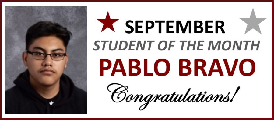 Pablo Bravo Honored as September Student of the Month