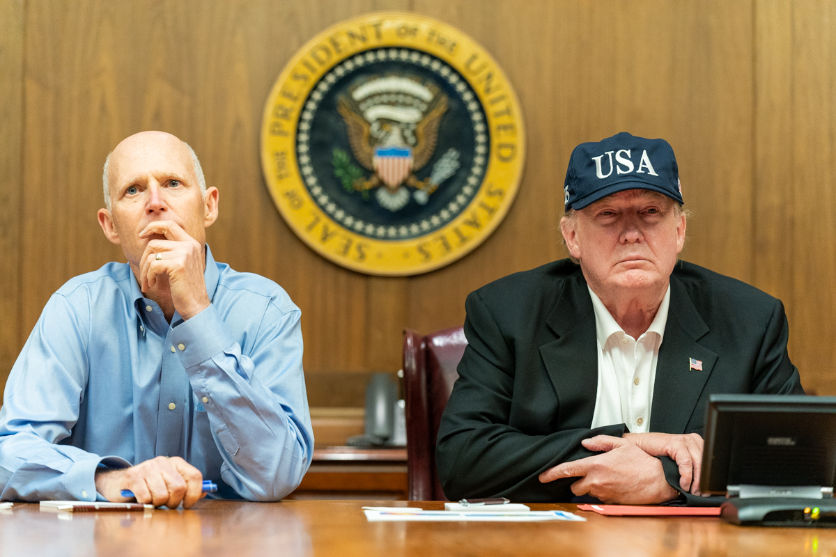 President Donald J. Trump & Senator Rick Scott, R-Fla. receive a briefing on Hurricane Dorian, Aug. 31, 2019